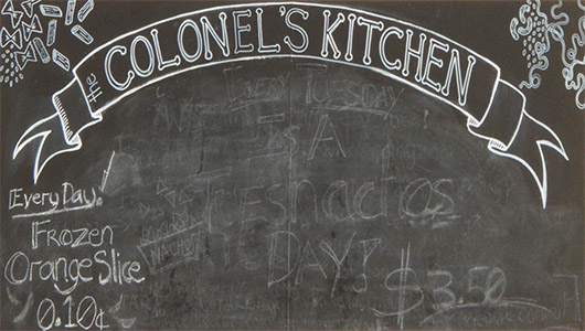 canteen blackboard