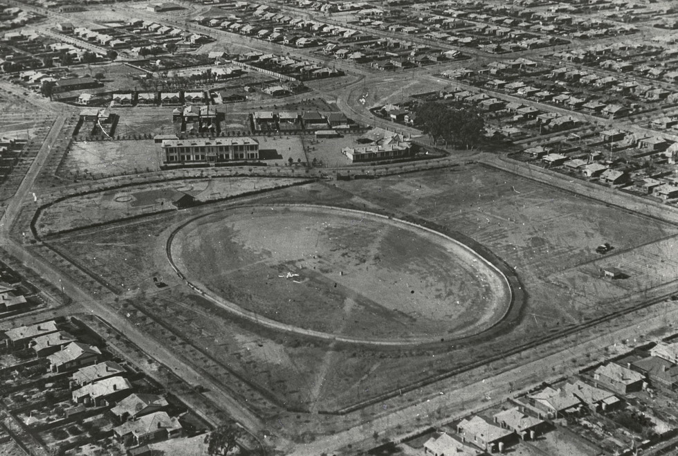 1930. Aerial view of Mortlock Park Colonel Light Gardens. St Theresa's School is just outside the Park on the bottom right. At the top of the picture, near the oval shape, was a playground with a giant swing on the right. Opposite the playground was the State School. Weekly trots meetings and Australian rules football games were held during the 1950s, and later English football games were played there on a Sunday morning. State Library of South Australia