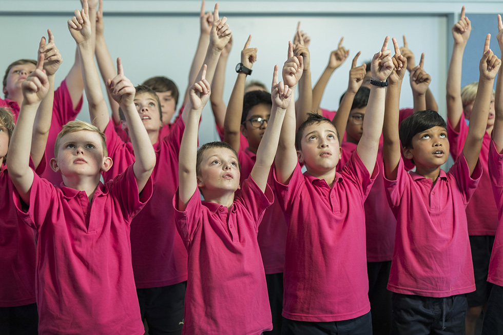 Children singing in choir